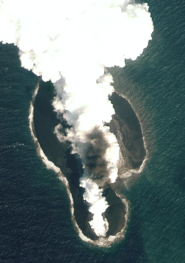 A satellite photo of the 2011-12 eruption that created Sholan Island. It was taken by the worldview-2 satellite on 23 December 2011. JÓNSSON ET AL., NATURE COMMUNICATIONS